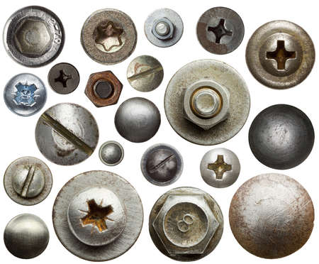 bolts and nuts: Screw heads, nuts, rivets. Stock Photo