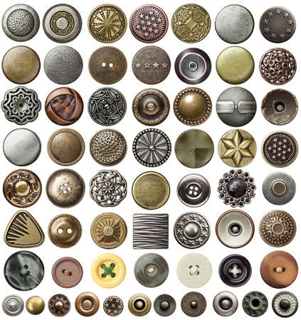 Various sewing buttons and jeans rivets.