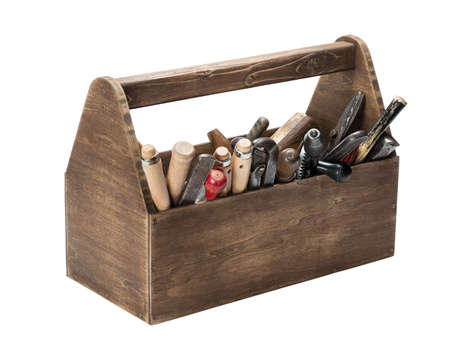 old tools: Wooden toolbox with old tools