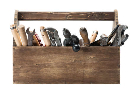 toolbox: Wooden toolbox with old tools