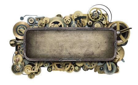 mechanical energy: Stylized mechanical clockwork background. Stock Photo