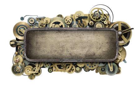 mechanical energy: Stylized mechanical clockwork background. Stock Photo