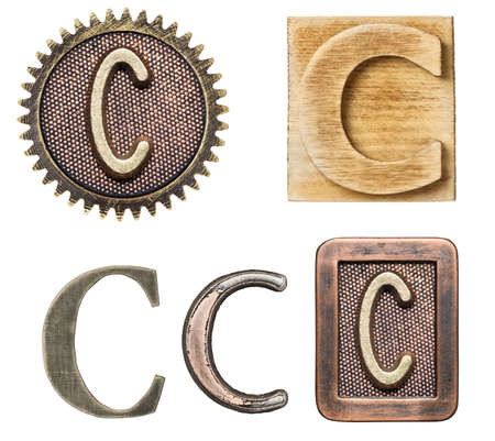 c to c: Alphabet made of wood and metal. Letter C Stock Photo