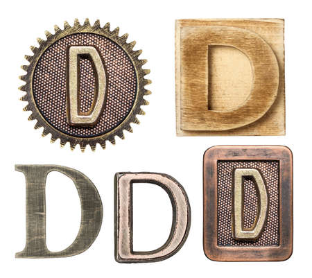 d: Alphabet made of wood and metal. Letter D Stock Photo