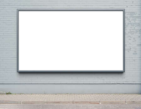 blank poster: Blank advertising billboard on a street wall. Stock Photo