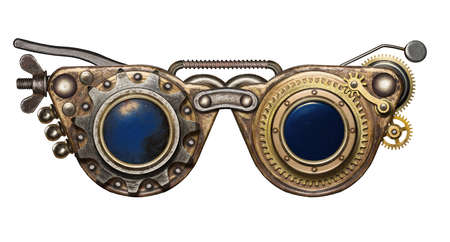 Steampunk goggles. Metal collage. Stock Photo