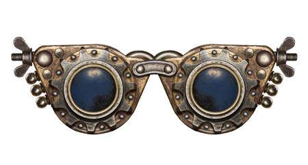 maquina de vapor: Gafas de Steampunk. Collage de metal.