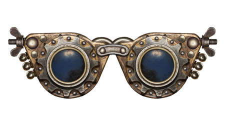 safety goggles: Steampunk goggles. Metal collage. Stock Photo