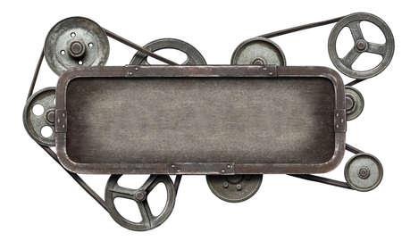 mechanical energy: Stylized metal mechanical collage background