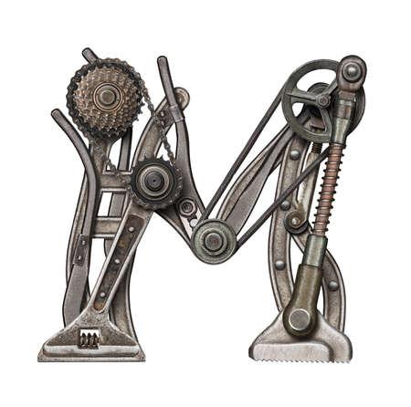Mechanical metal alphabet letter M photo