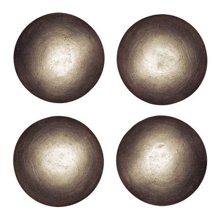 tuercas y tornillos: Cabezas de los remaches aislados en blanco.