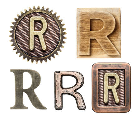 R: Alphabet made of wood and metal. Letter R