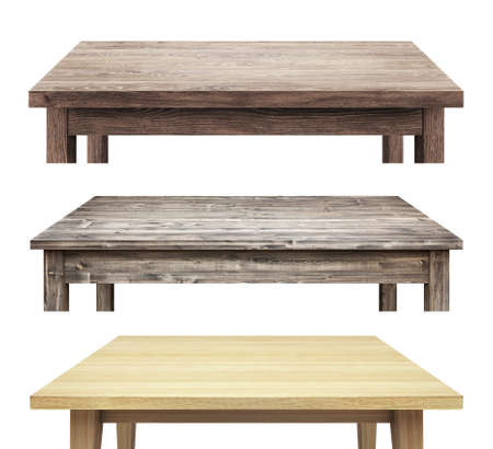 muebles de madera: Mesa de madera encabeza aislada sobre fondo blanco