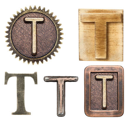 wooden block letter: Alphabet made of wood and metal. Letter T Stock Photo