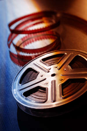 motion picture: Motion picture film reel on the table