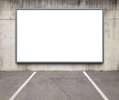 billboard advertising: Blank advertising billboard on a concrete wall.