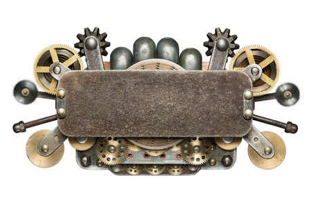 maquina vapor: Collage mecánica estilizada. Hecho de detalles metálicos.