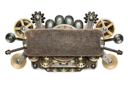 mechanical energy: Stylized mechanical collage. Made of metal details.