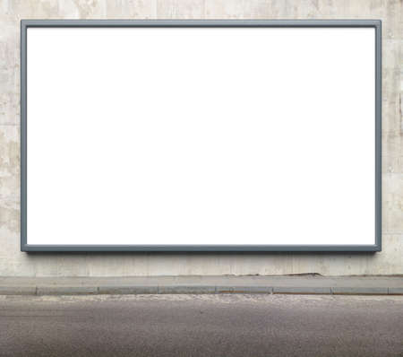 Blank advertising billboard on a street wall. Stock Photo