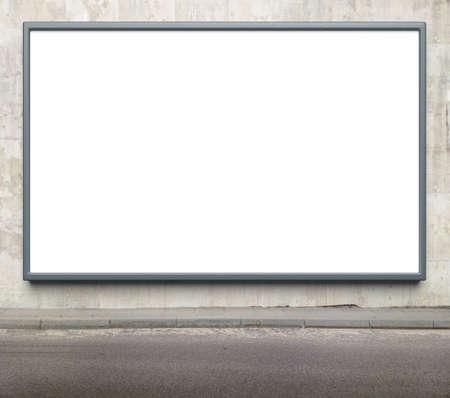 billboard: Blank advertising billboard on a street wall. Stock Photo