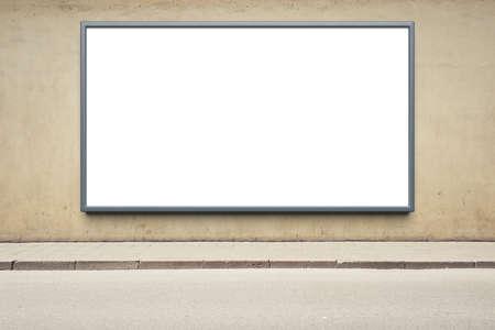 wall street: Blank advertising billboard on a street wall. Stock Photo