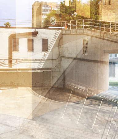 multiple exposure: Abstract esposizione multipla. I dettagli architettonici. Archivio Fotografico