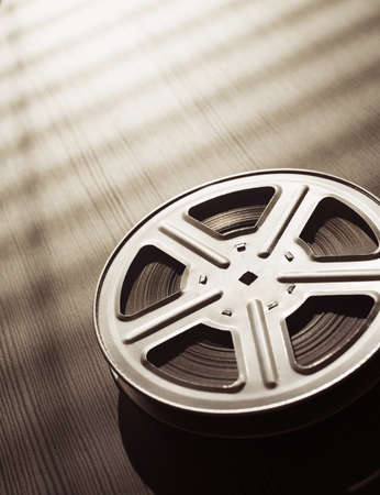 video reel: Motion picture film reel on the table