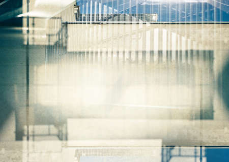 multiple exposure: Abstract multiple exposure urban background. Architectural details. Stock Photo