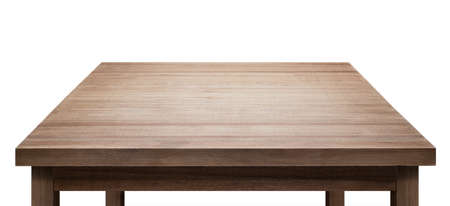 Wooden table top isolated on white background. Foto de archivo