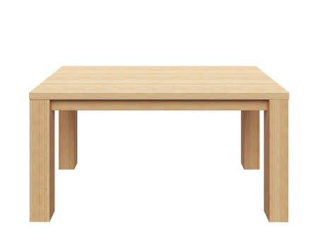Houten tafel op een witte achtergrond.
