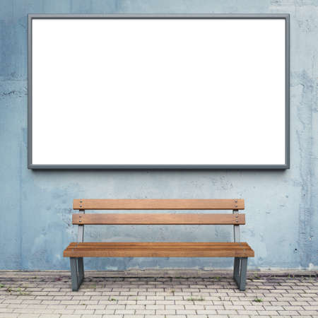 outdoor advertising: Blank advertising billboard on a street wall. Stock Photo