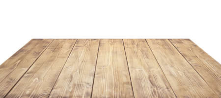 Wooden table top isolated on white background. Standard-Bild