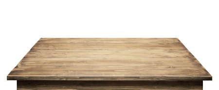 木製テーブル トップ、白い背景で隔離。 写真素材