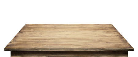 Tischplatte aus Holz isoliert auf weißem Hintergrund.