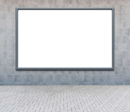 blank frame: Blank advertising billboard on a street wall. Stock Photo