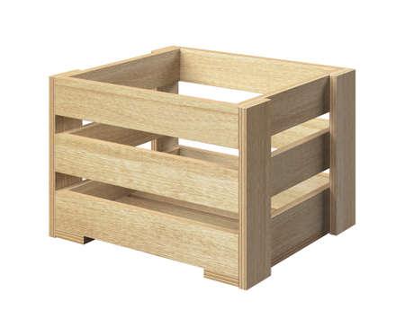 Empty wooden box made of plywood planks Standard-Bild