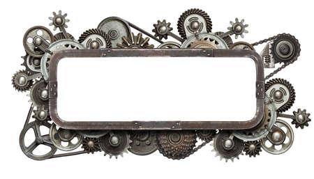 maquina de vapor: Collage mecánica estilizado con aislados copia espacio. Hecho de engranajes de metal y las texturas. Foto de archivo