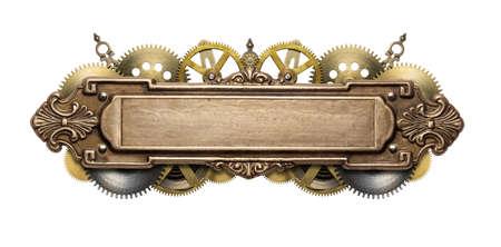 Gestileerde mechanische steampunk collage. Gemaakt van metalen frame en uurwerk details.