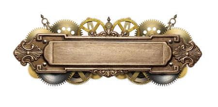 shiny metal background: Stylized mechanical steampunk collage. Made of metal frame and clockwork details. Stock Photo