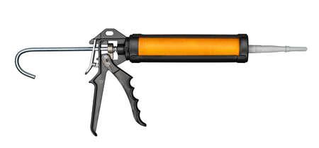 hand gun: Silicone or glue gun, isolated on white Stock Photo