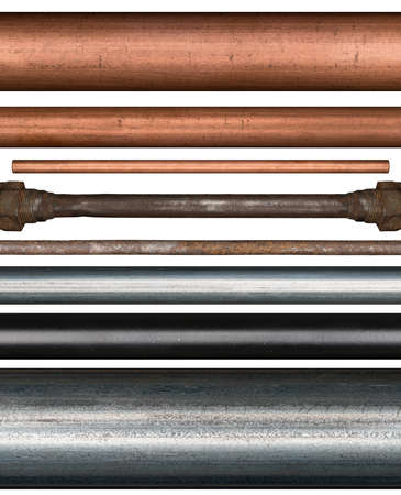 Copper, steel, rusty and painted metal pipes isolated on white background Stock Photo