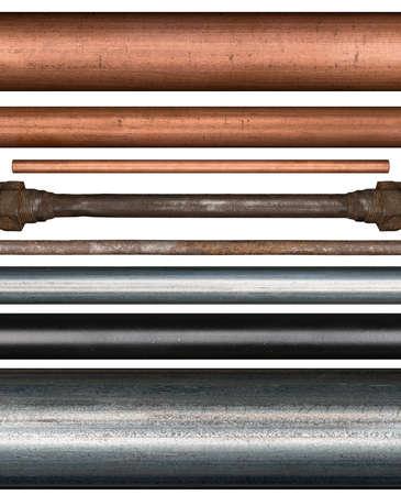 Koper, staal, roestig en beschilderde metalen buizen op een witte achtergrond
