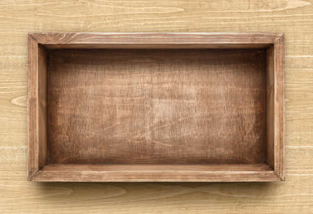 Empty rustic wooden box on the table Stock Photo