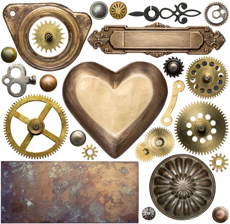 Vintage metal details, textures, clock gears. Steampunk design elements.