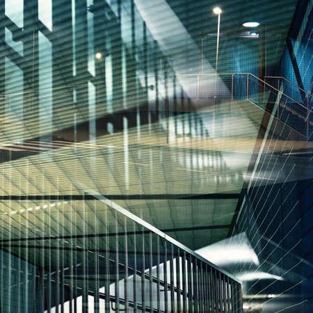 Abstracte meerdere blootstelling achtergrond. Architectonische vormen. Stockfoto