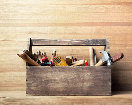 craft: Wooden toolbox on the table