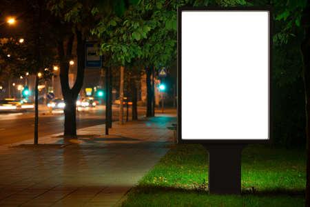 billboard blank: Blank advertising billboard in the city at night.
