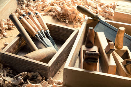 carpentry: Woodworking and carpentry tools in workshop.