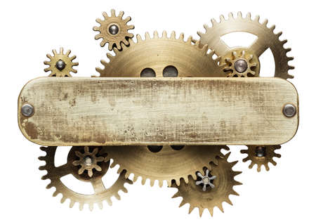 Metal collage of clockwork gears isolated on white background Imagens - 48054326