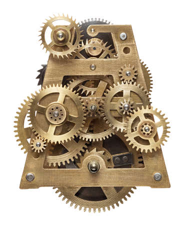 mechanism: Metal collage of clockwork gears isolated on white background